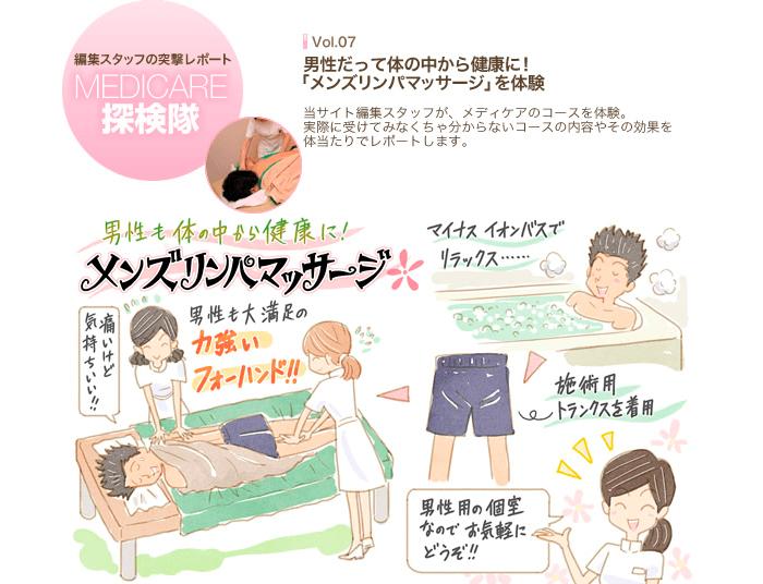MEDICARE探検隊 Vol.07 男性だって体の中から健康に!「メンズリンパマッサージ」を体験
