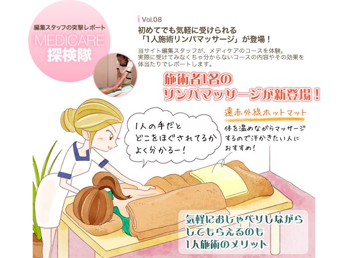 MEDICARE探検隊 Vol.08 初めての方も気軽に受けられる!「1人施術リンパマッサージ」が登場!
